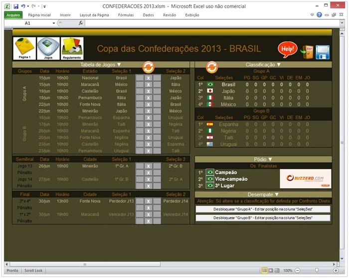 Tabela Copa das Confederações 2013