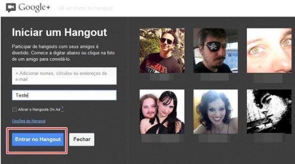 Entrar no Hangout