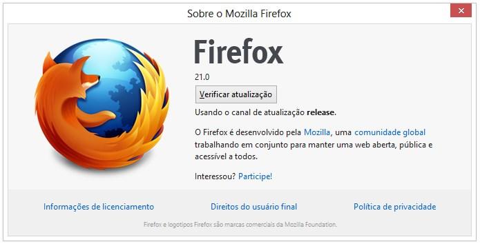 Mozilla Firefox 21.0