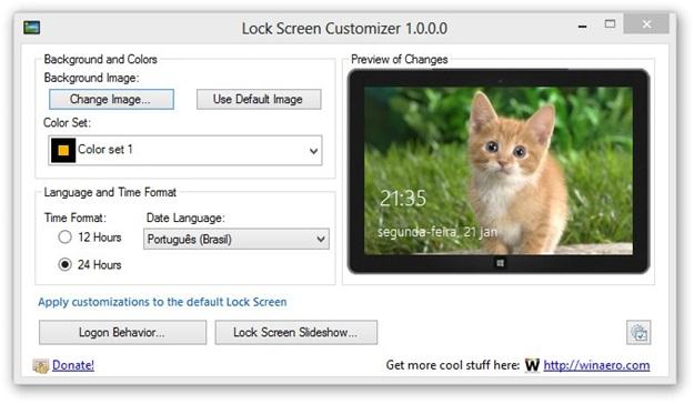 Windows 8 Lock Screen Customizer.