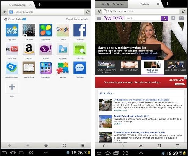 Imagens do navegador