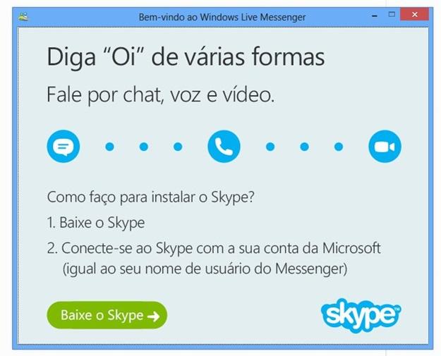 Tela do Skype