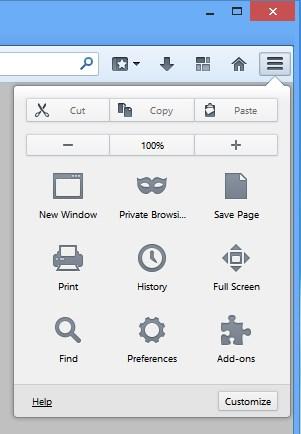 Novo menu de configurações do navegador