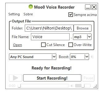 Faça as configurações desejadas e comece a gravar.