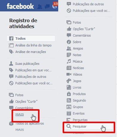 """8815626e7 Na página que se abre, você deve procurar pelo menu na lateral esquerda,  que começa com opções como """"Todos"""" e """"Análise da linha do tempo""""."""