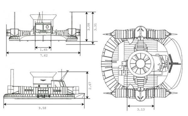 Dimensões e modelo do SR.N1
