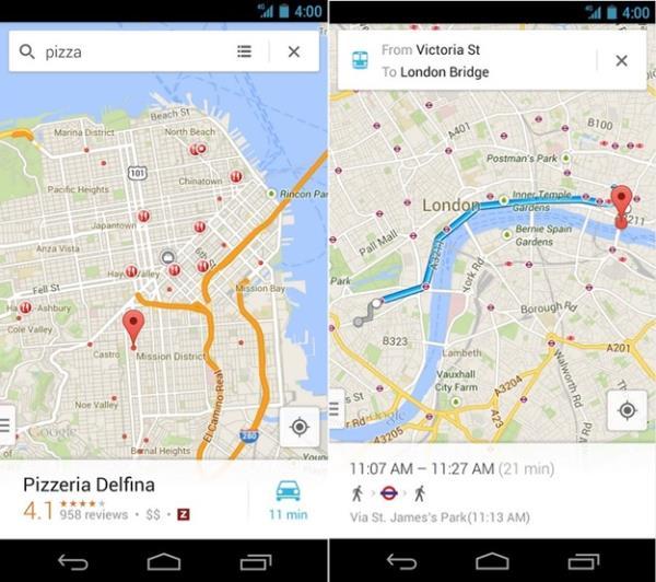 Mapas e roteiros com o Google Maps