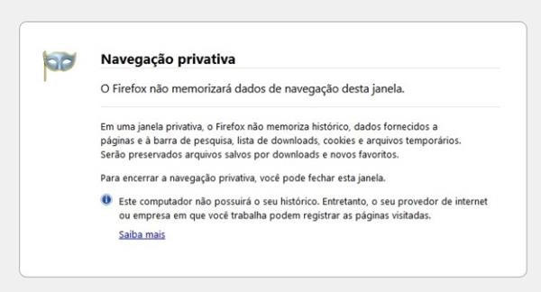 Janela anônima no Firefox