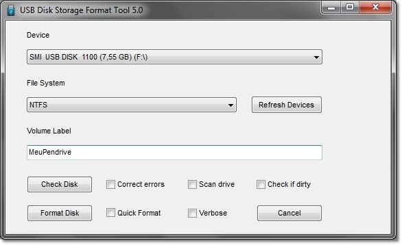 USB Disk Storage Format Tool.