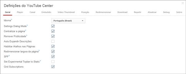 Customizando o YouTube