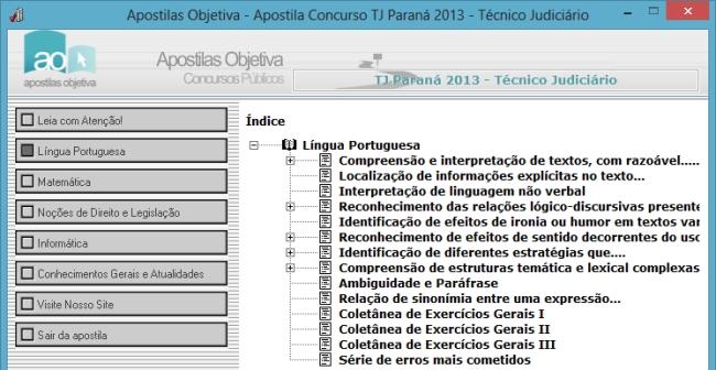 Apostila do Concurso TJ Paraná 2013 - Técnico Judiciário - Imagem 1 do software