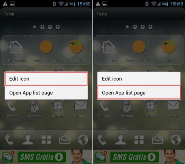 Editando ícone ou abrindo página de apps