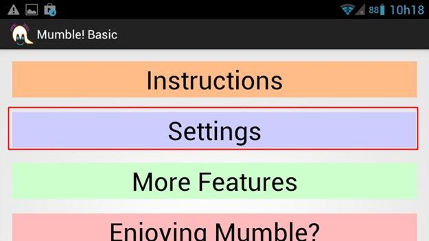 Abrindo as configurações do programa