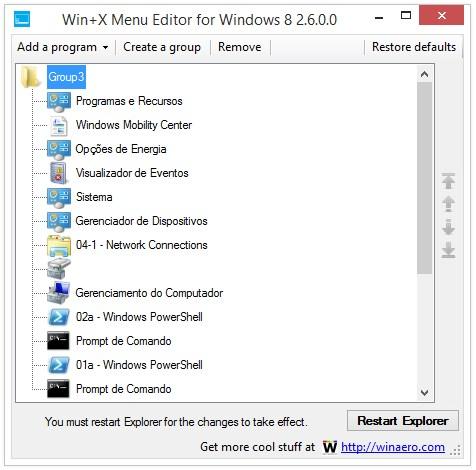 Win+X Menu Editor for Windows 8