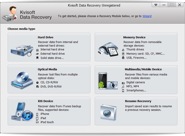 Kvisoft Data Recovery - Imagem 1 do software