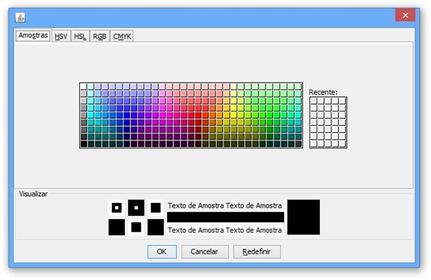 Escolhendo as cores