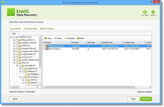 KiwiG Data Recovery Free - Imagem 2 do software