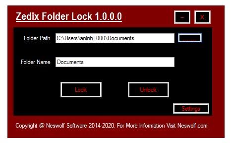 Zedix Folder Lock - Imagem 1 do software