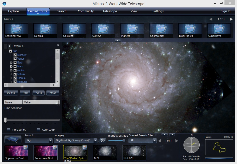WorldWide Telescope - Imagem 3 do software