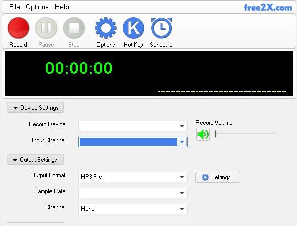 Free2X Sound Recorder - Imagem 1 do software