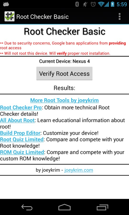 Android app root checker pro