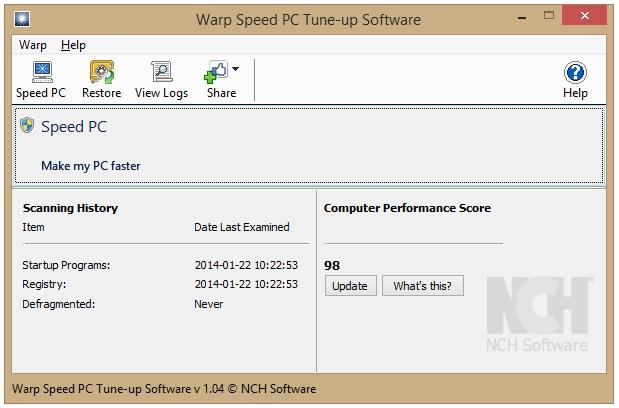 Warp Speed PC Tune-up - Imagem 1 do software