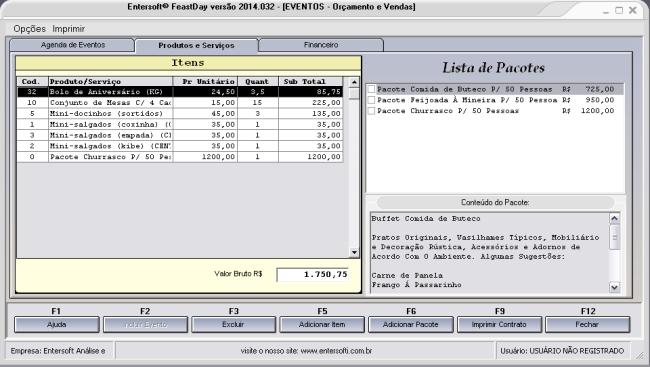 Entersoft FeastDay - Sistema para Gerenciamento de Festas, Eventos e Buffets - Imagem 1 do software