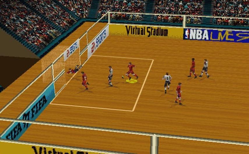FIFA 97 (1996) (PlayStation, Sega Saturn, PC, Mega Drive, SNES e Game Boy) | Capa: David Ginola | Narração e comentários: John Motson, Andy Gray e Des Lynam
