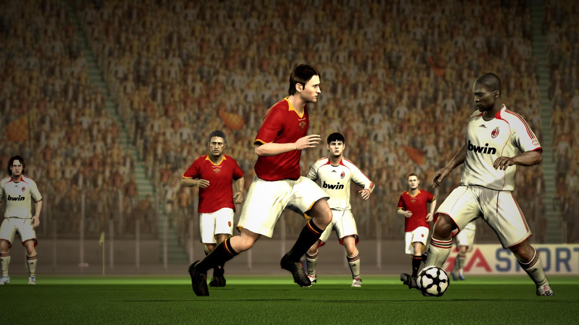 FIFA 07 (2006) (Xbox 360, PS2, Xbox, GameCube, PC, PSP, DS, GBA e plataformas móveis) | Capa: Wayne Rooney e Ronaldinho | Narração e comentários: Martin Tyler e Andy Gray