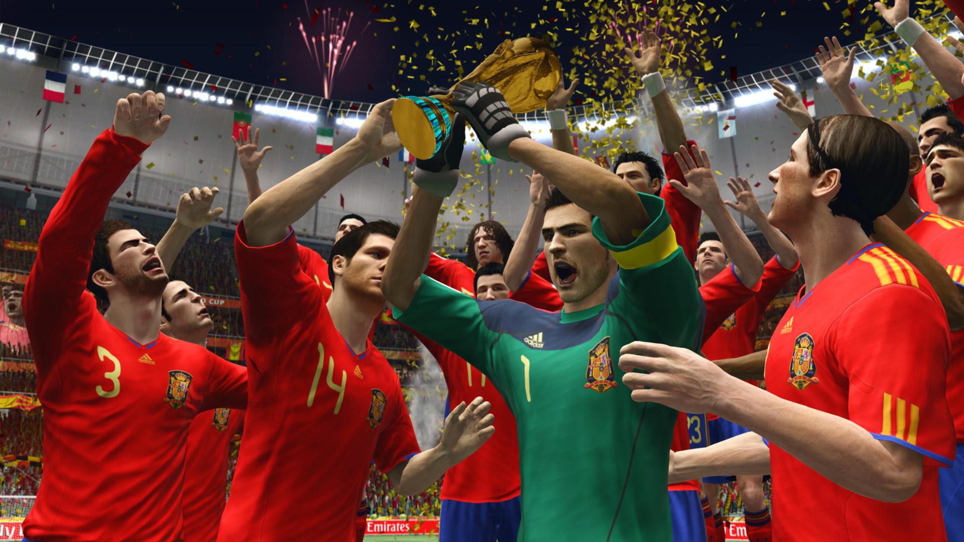 2010 FIFA WORLD CUP SOUTH AFRICA (2010) (Xbox 360, PS3, Wii, PSP e iOS) | Capa: imagem da Copa do Mundo | Narração e comentários: Clive Tyldesley e Andy Townsend