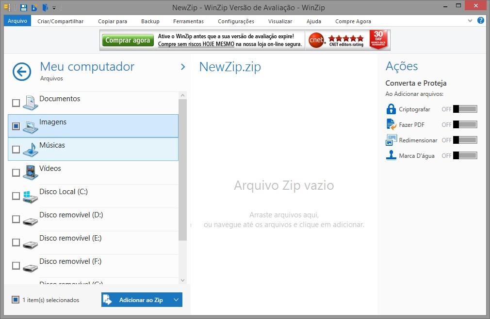 compactador de arquivos gratis em portugues