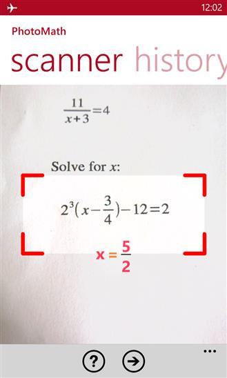 PhotoMath - Imagem 1 do software