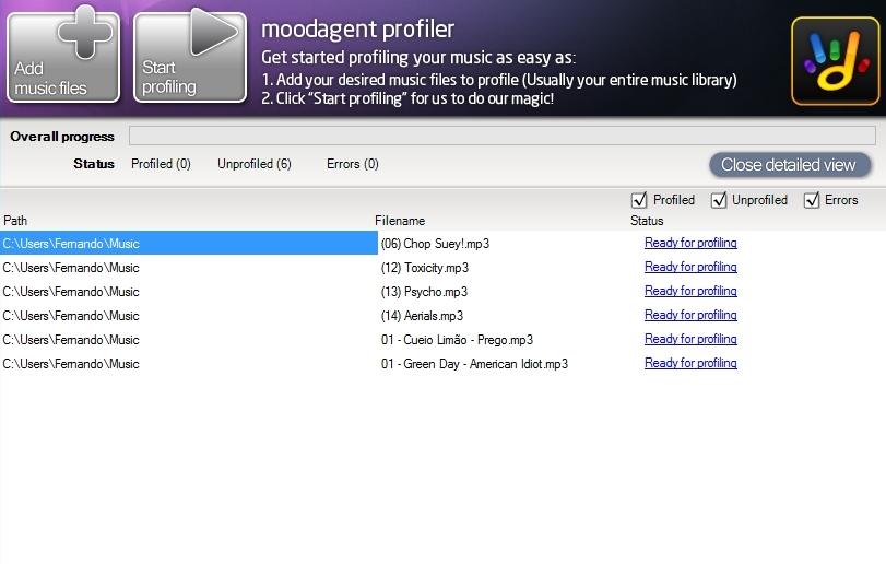 Moodagent - Imagem 1 do software
