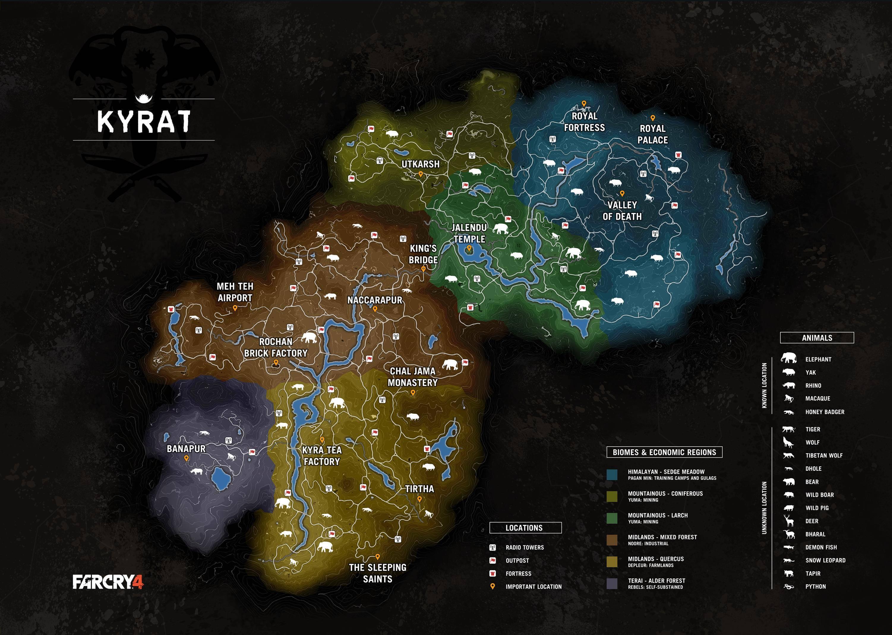 Vazou! Veja o gigantesco mapa de Far Cry 4 com animais, regiões e mais