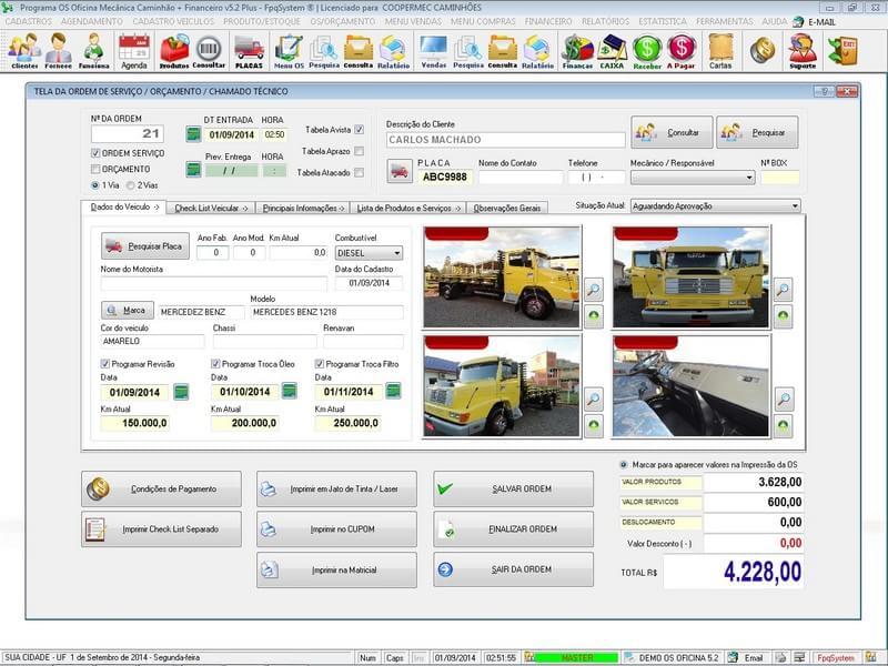 Programa OS Oficina Mecânica Caminhão com Check List, Vendas, Estoque e Financeiro - Imagem 1 do software