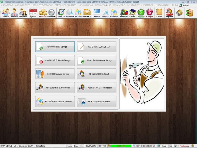 Programa Ordem de Serviço Marcenaria com Vendas e Financeiro e Agendamento - Imagem 1 do software