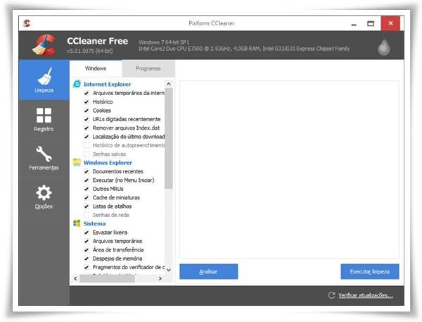 CCleaner Portable - Imagem 2 do software