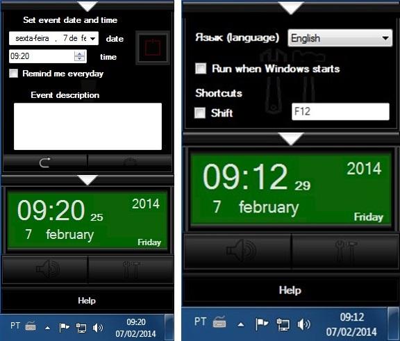 A configuração do alarme e as opções gerais.