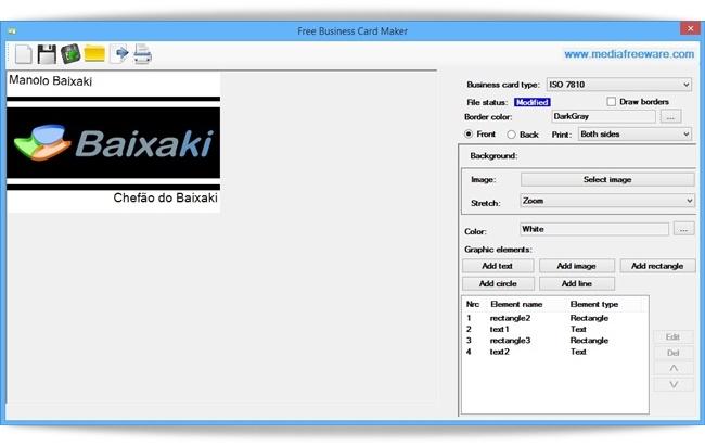 Free Business Card Maker - Imagem 1 do software
