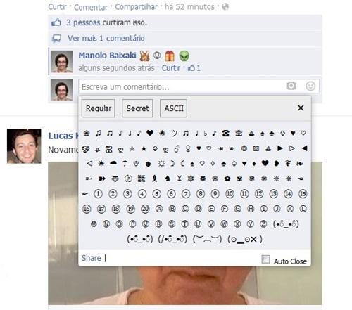 Os emoticons em ASCII e os secretos na postagem
