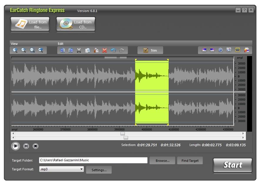 EarCatch Ringtone Express - Imagem 1 do software