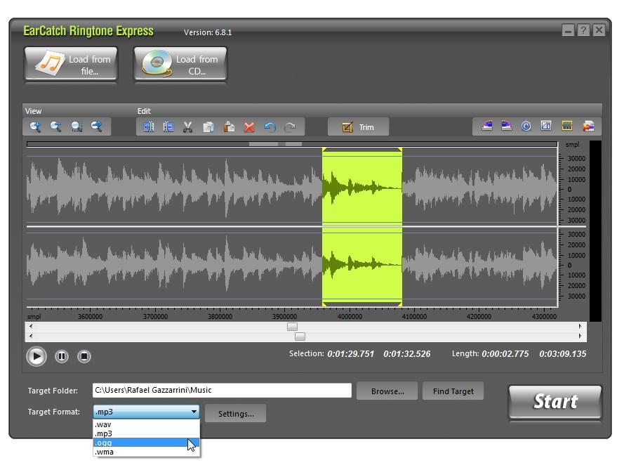 EarCatch Ringtone Express - Imagem 2 do software