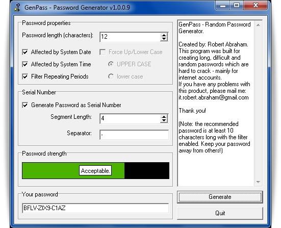 Interface do GenPass se resume em uma tela apenas