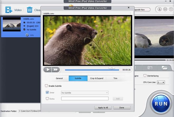 WinX Free iPod Video Converter - Imagem 1 do software