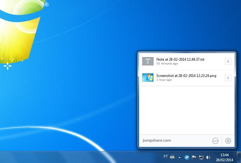 A tela mostra os arquivos compartilhados na hora