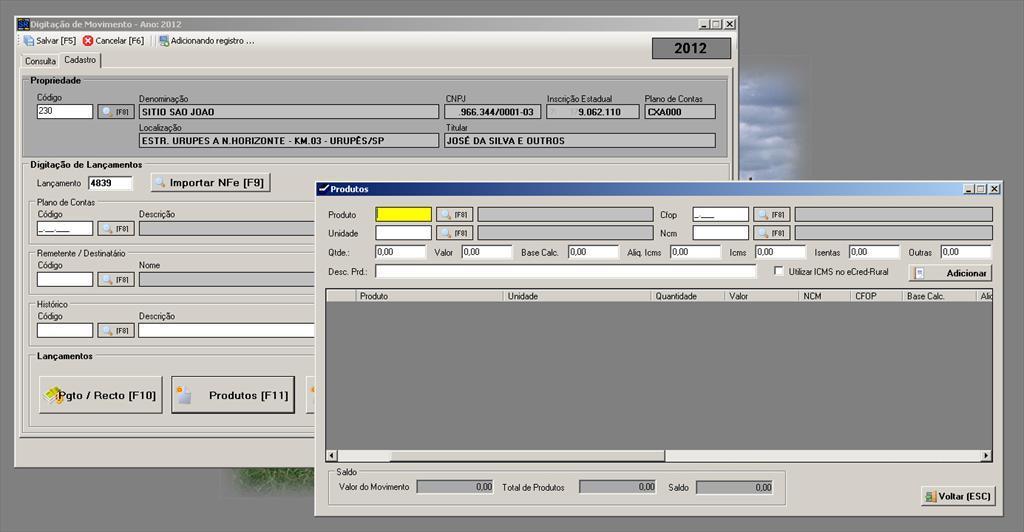 SRural - Controle da Atividade Rural - Imagem 1 do software