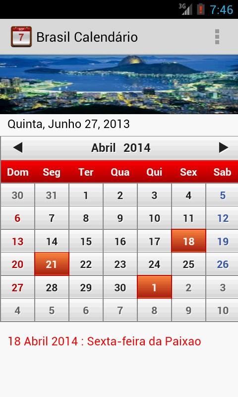 Brasil Calendário 2014 - Imagem 1 do software