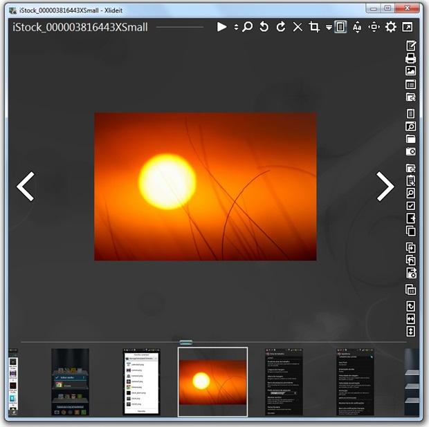 O visualizador tem vários ícones e miniaturas