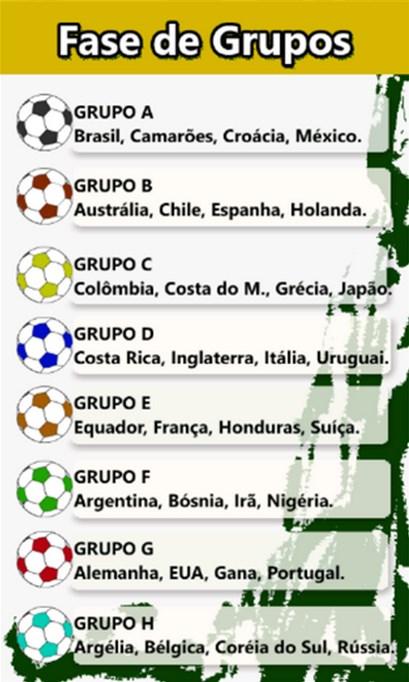 Tabela Copa 2014 - Imagem 1 do software