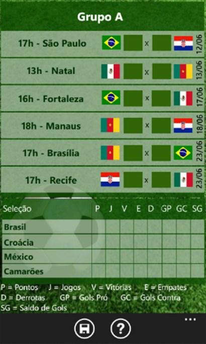 Tabela Copa 2014 - Imagem 2 do software